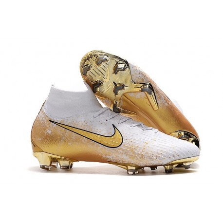 Nike Mercurial Superfly VI Elite FG 2019 Cleats White Golden