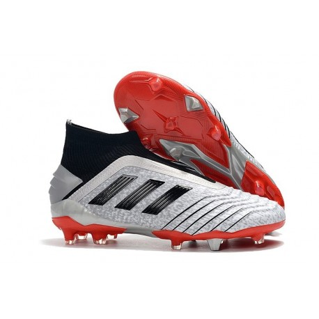 adidas Predator 19+ FG Firm Ground Boots - Silver Black Red
