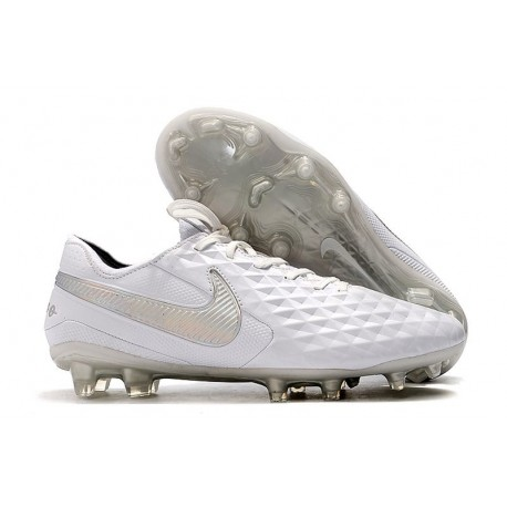 Nike Tiempo Legend VIII Elite FG Cleats White Chrome Silver