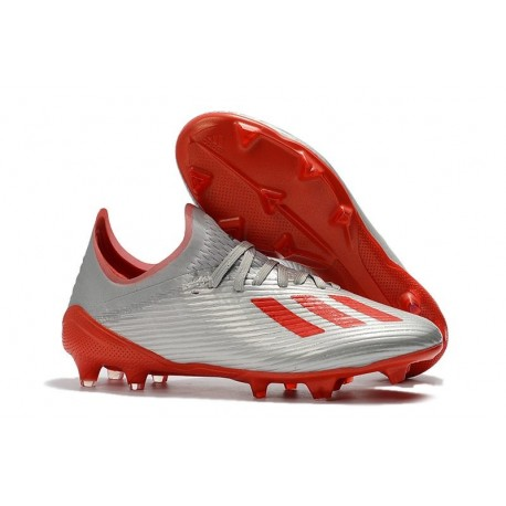 adidas X 19.1 FG Soccer Cleats - Silver Metallic/Hi Res-Red/White