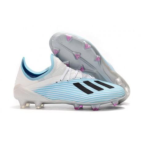 adidas X 19.1 FG Soccer Cleats - White Blue Black