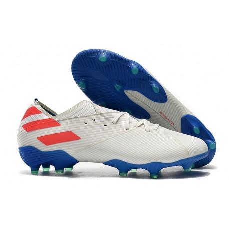 adidas Nemeziz 19.1 FG Soccer Cleats White Blue Red