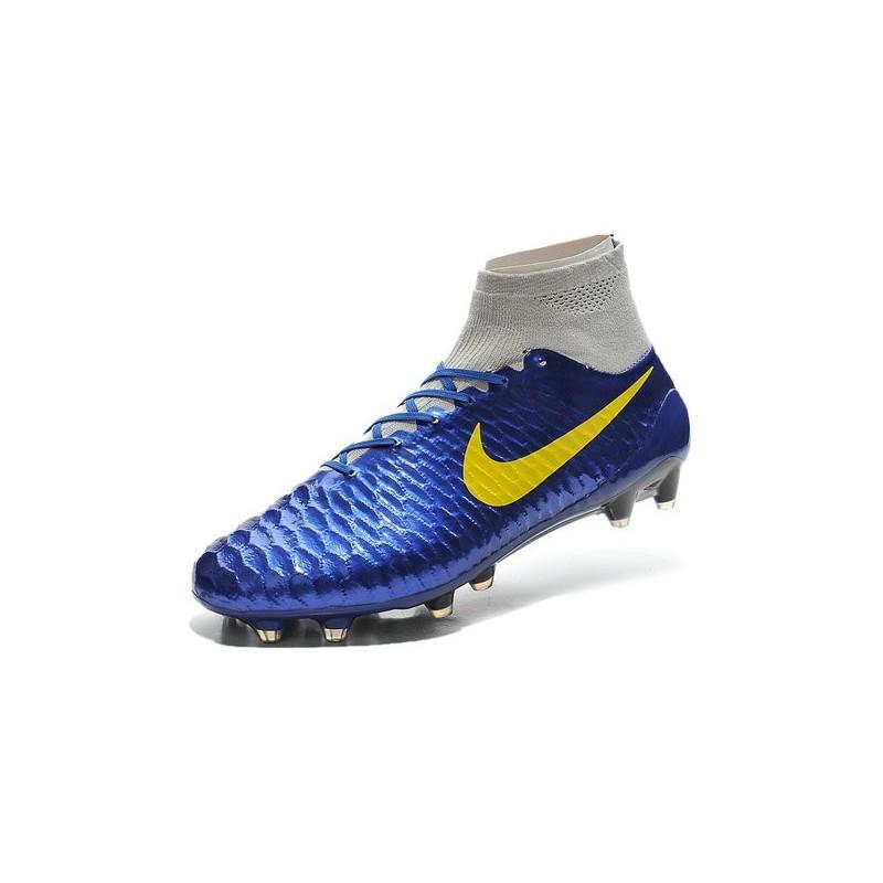 Nike New Men Football Shoes Magista Obra FG ACC Blue Yellow Grey