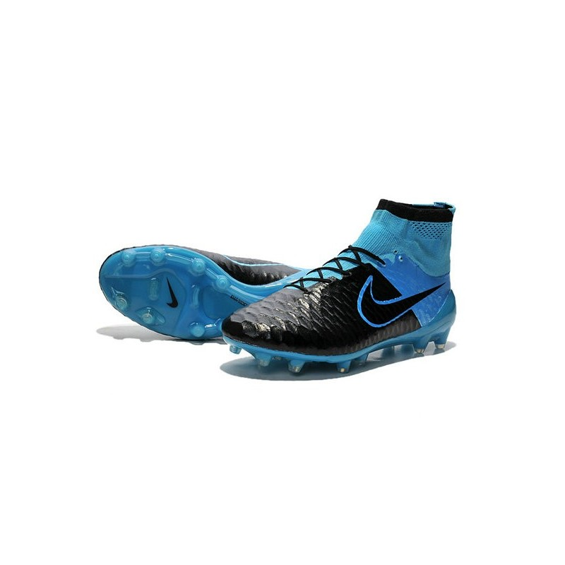 New 2015 Nike Magista Obra FG ACC Men Soccer Cleats Leather Black Blue