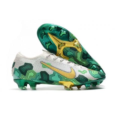 Mbappe Nike Mercurial Vapor 13 Elite FG Grey Gold Green