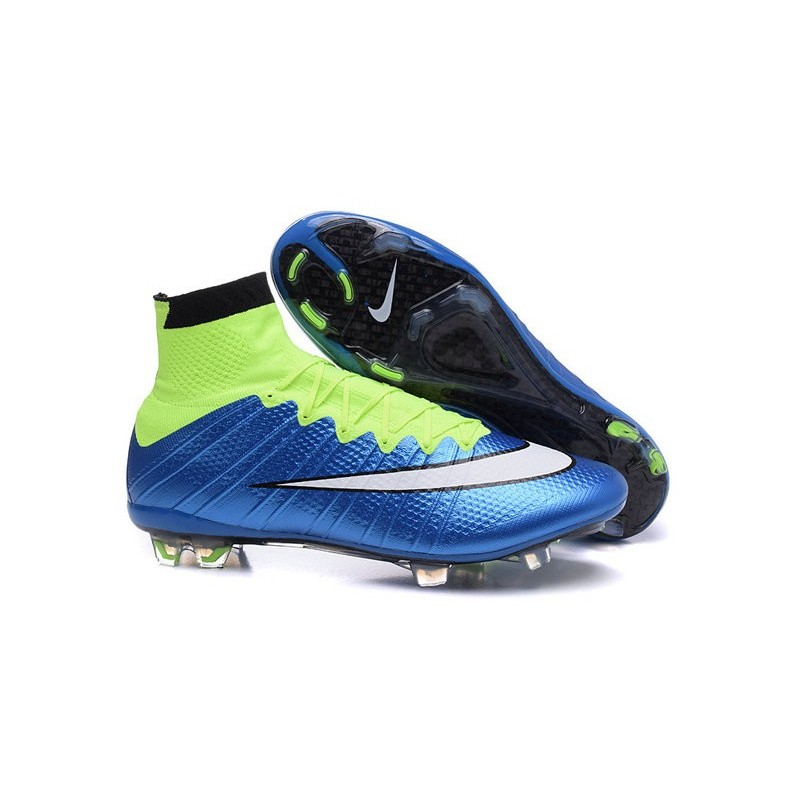 Latest Nike Mercurial Superfly 2015 FG Soccer Boots Cleats blue green black