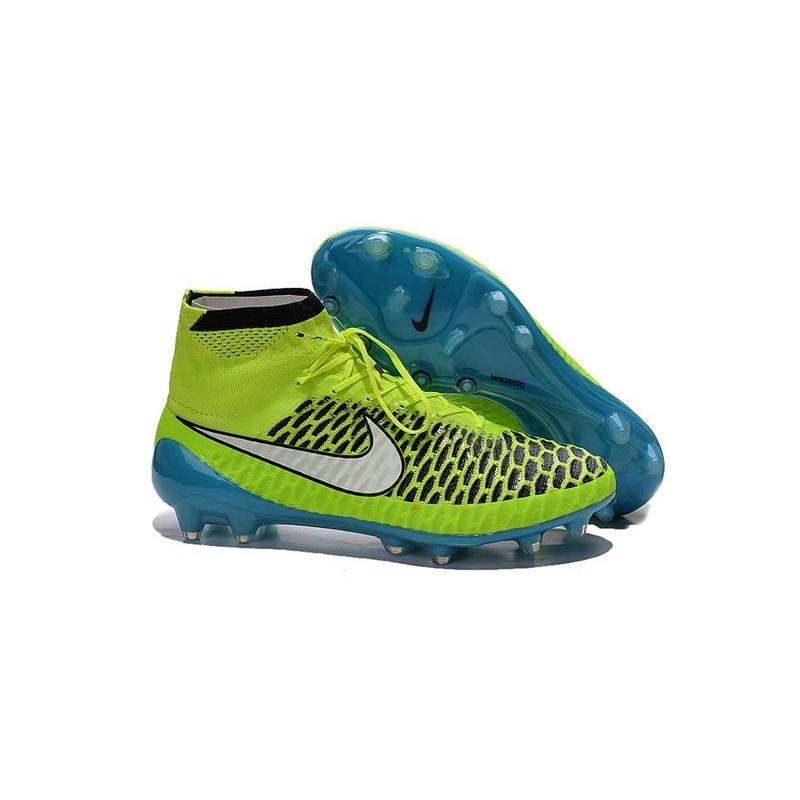 New 2015 Nike Magista Obra FG ACC Men Soccer Cleats Volt Blue Lagoon White