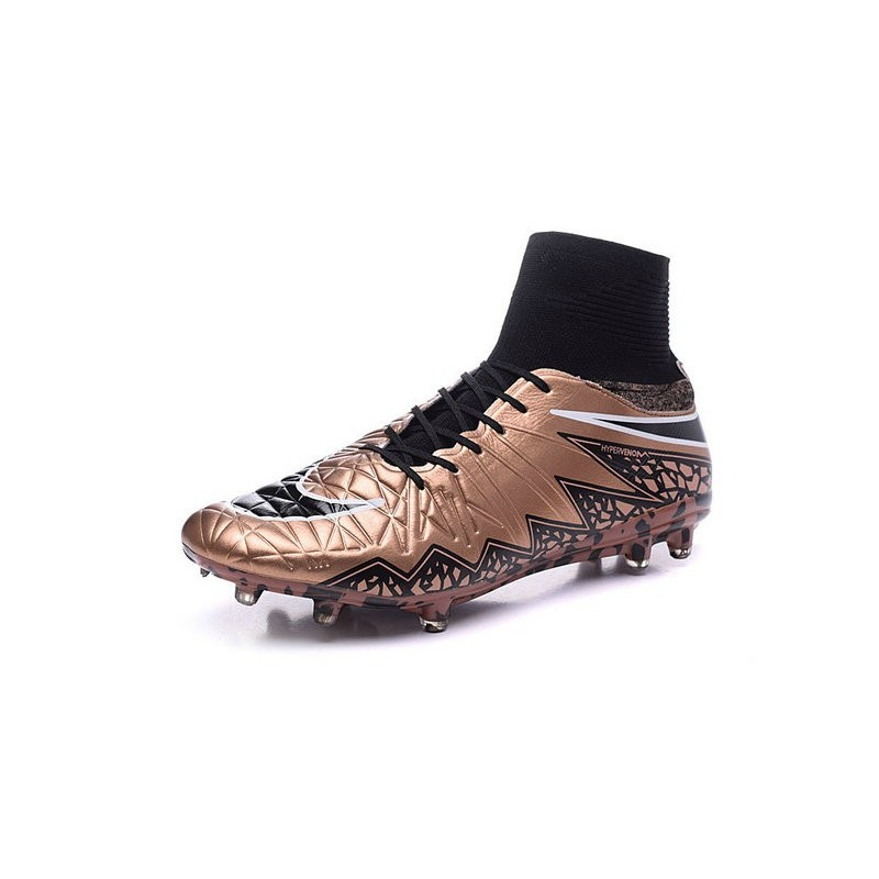Nike 2015 Mens Boots Hypervenom Phantom II FG ACC Gold Black White