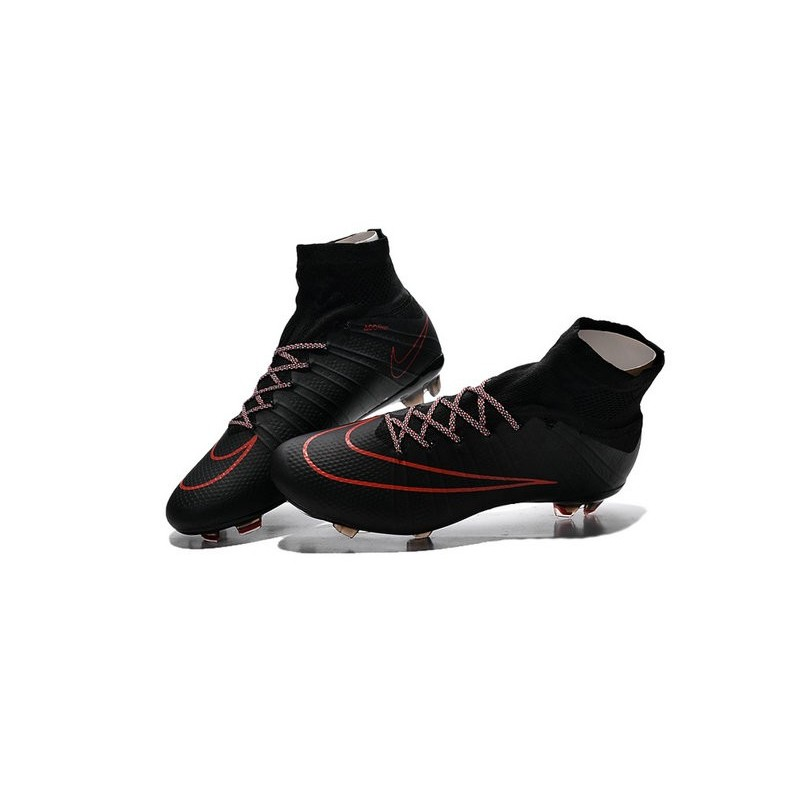 New Top Nike Mercurial Superfly Iv FG Cleat Black Red