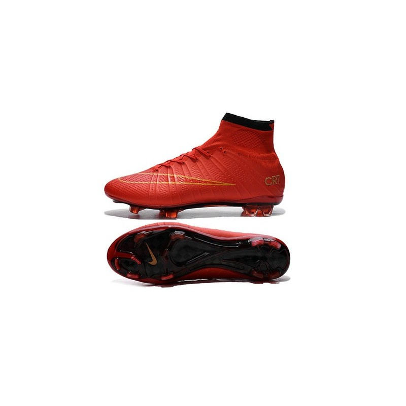New Cristiano Ronaldo Nike Mercurial Superfly Iv CR7 Red Gold FG Cleat