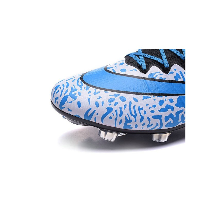 New Top Nike Mercurial Superfly Iv FG Cleat White Blue Black