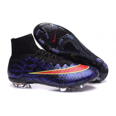 Mens 2015 Nike Mercurial Superfly 4 FG Soccer Boot Purple Red Black