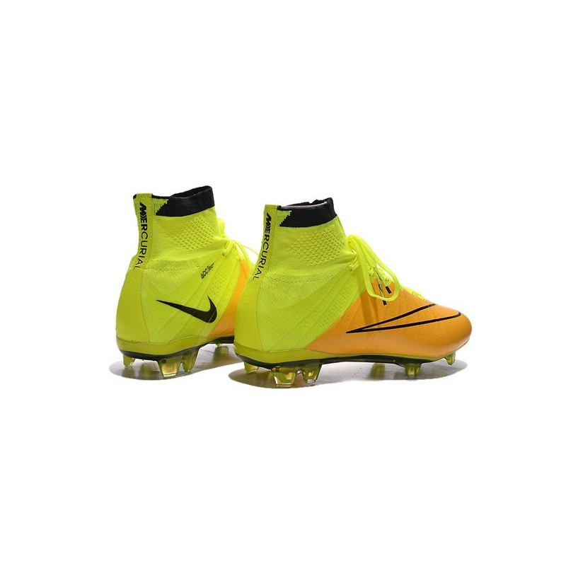 Mens 2015 Nike Mercurial Superfly 4 FG Soccer Boot Leather Yellow