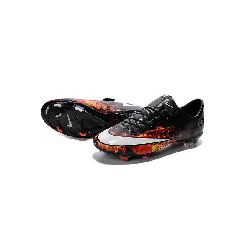 Ronaldo Nike Mercurial Vapor X FG CR7 Firm Ground Shoes Black White Crimson