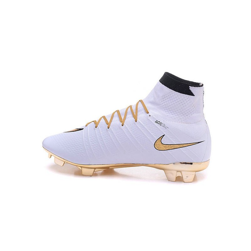 Top New Nike Mercurial Superfly Iv FG Football Cleats Ronaldo White Gold