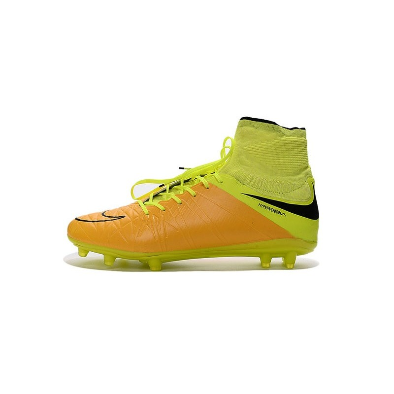 Nike 2016 Mens Boots Hypervenom Phantom II FG ACC Leather Canvas Volt Black
