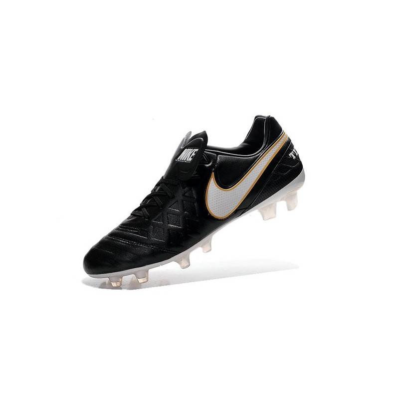 New 2016 Nike Tiempo Legend 6 FG Kangaroo Leather Boots Black White Golden