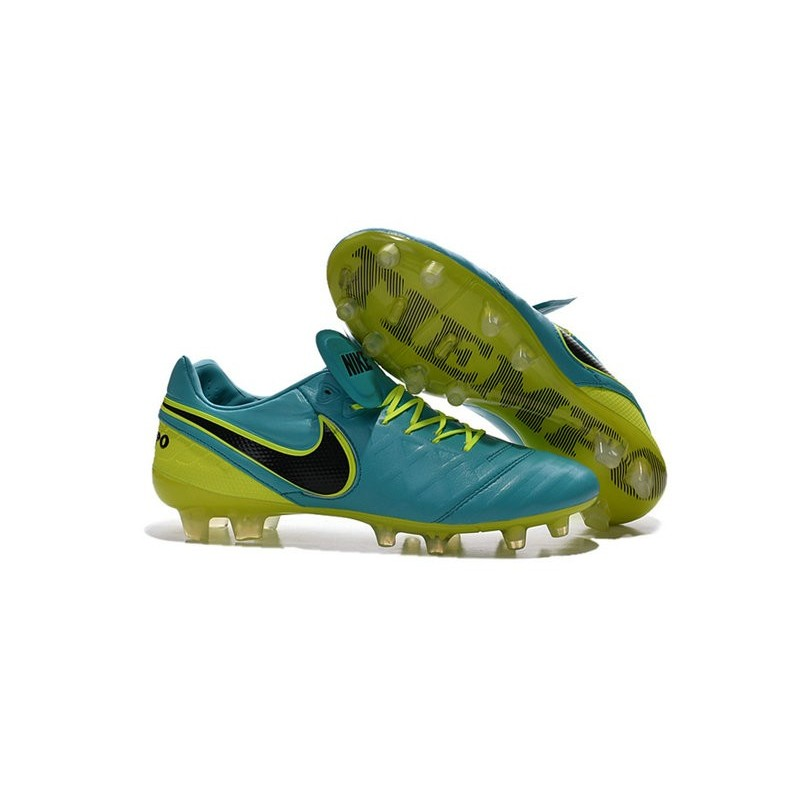 New 2016 Nike Tiempo Legend 6 FG Kangaroo Leather Boots Blue Volt Black