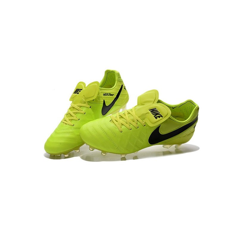 New 2016 Nike Tiempo Legend 6 FG Kangaroo Leather Boots Volt Black