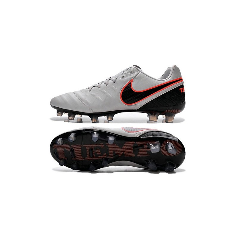 New 2016 Nike Tiempo Legend 6 FG Kangaroo Leather Boots Pure Platinum Black Orange
