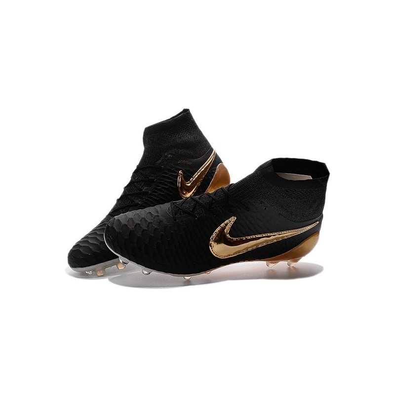 Nike 2016 Magista Obra FG ACC Football Shoes Black Gold