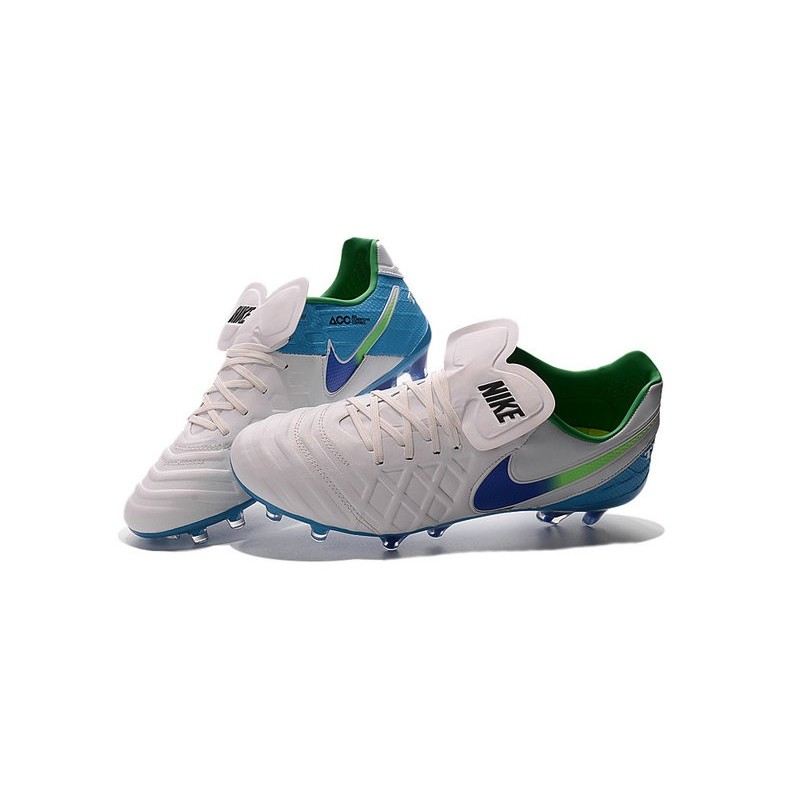 New 2016 Nike Tiempo Legend 6 FG Kangaroo Leather Boots White Blue Green
