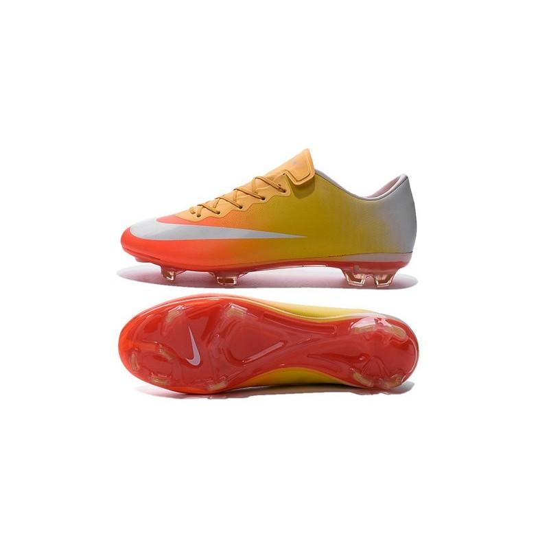 Ronaldo Nike Mercurial Vapor X FG Firm Ground Shoes Yellow Orange White