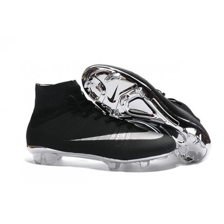 Cristiano Ronaldo Nike Mercurial Superfly 4 FG Shoes Black Silver