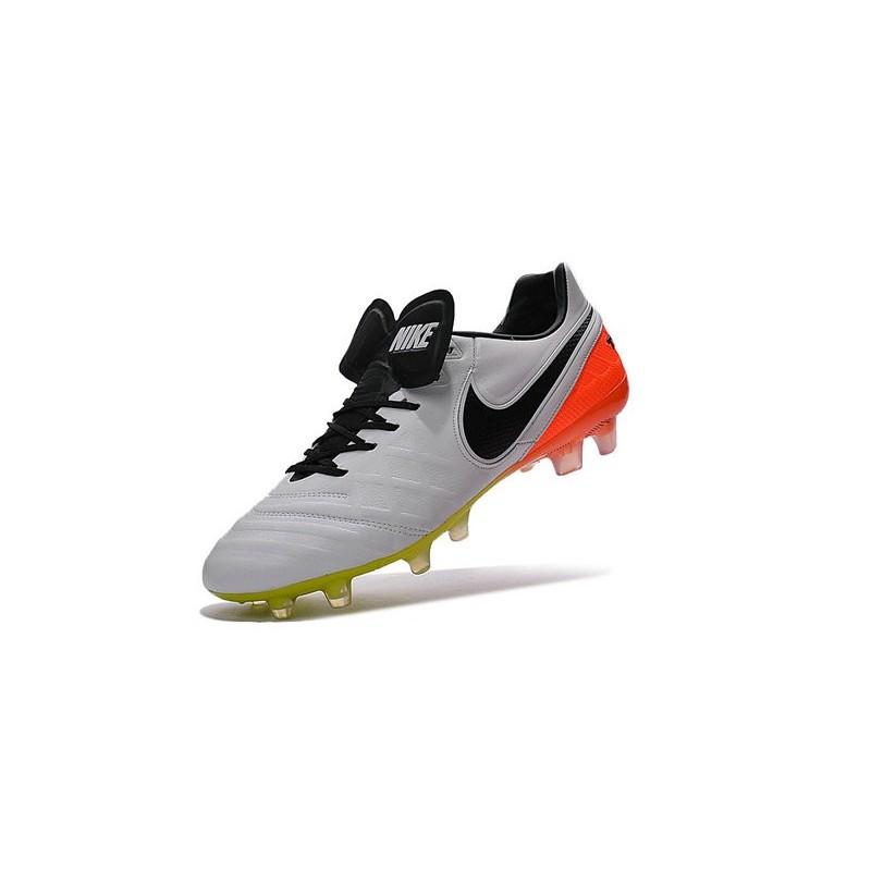 Nike Tiempo Legend VI FG ACC K-Leather Football Cleat White Black Orange