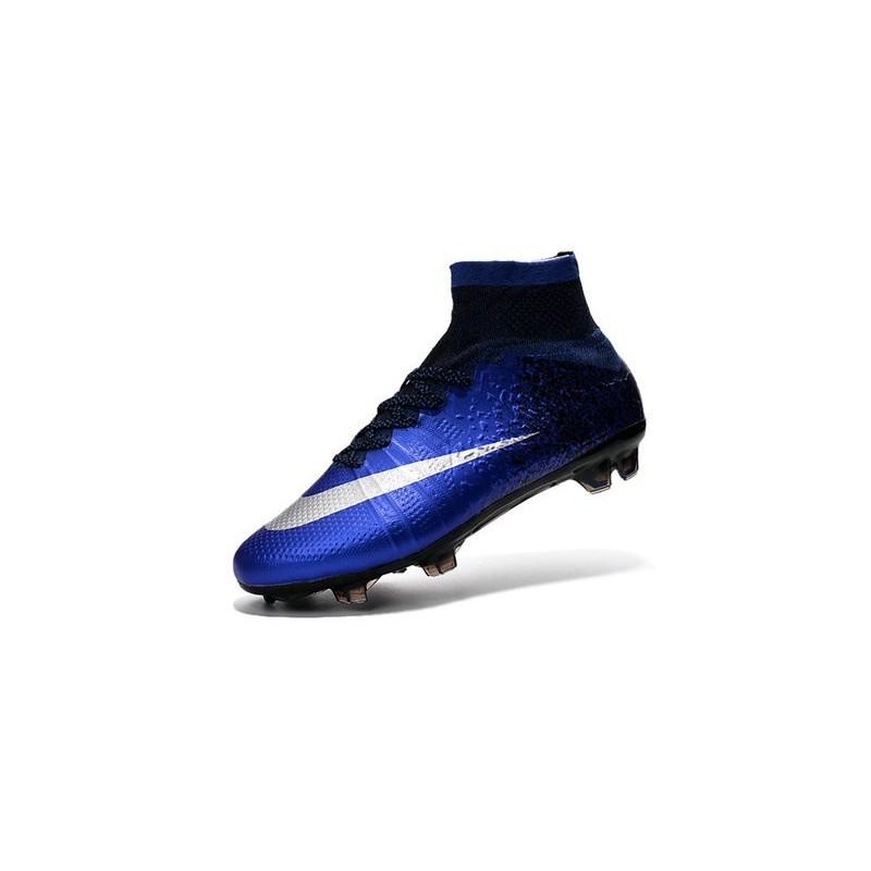 Cristiano Ronaldo Nike Mercurial Superfly 4 FG Shoes Royal Blue Silver