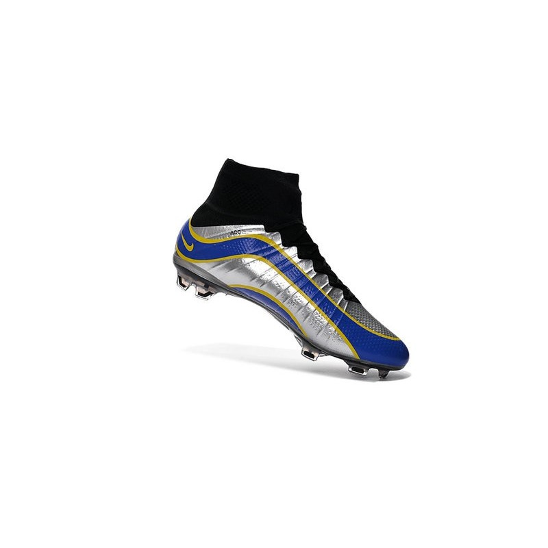 Newest Nike Nike Mercurial Superfly Heritage Football Cleats Silver Blue Yellow