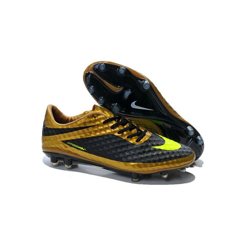 Nike HyperVenom Phantom FG Men's Firm Ground Soccer Boots Black Volt Gold