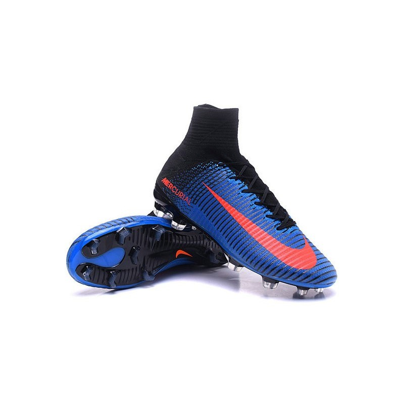 Cristiano Ronaldo Nike Mercurial Superfly V FG Football Cleats Blue Orange Black