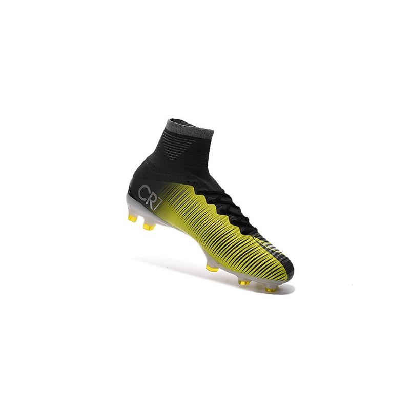 Nike Mercurial Superfly V FG CR7 Black Yellow White High Top Firm Ground Shoes