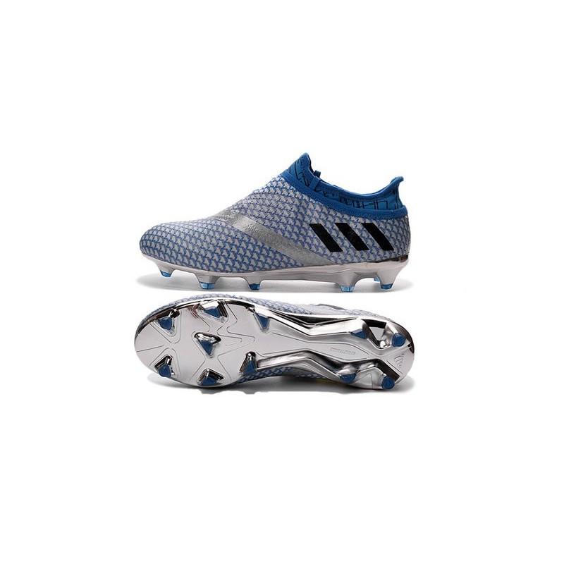 13009fb1a2f adidas Messi 16+ Pureagility FG Soccer Cleats Silver Black Blue