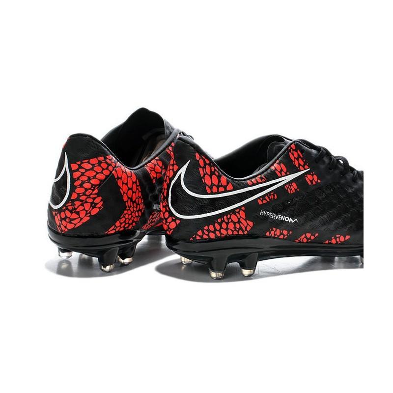 Neymar's Nike HyperVenom Phantom FG ACC Cleats Reflective Black Red