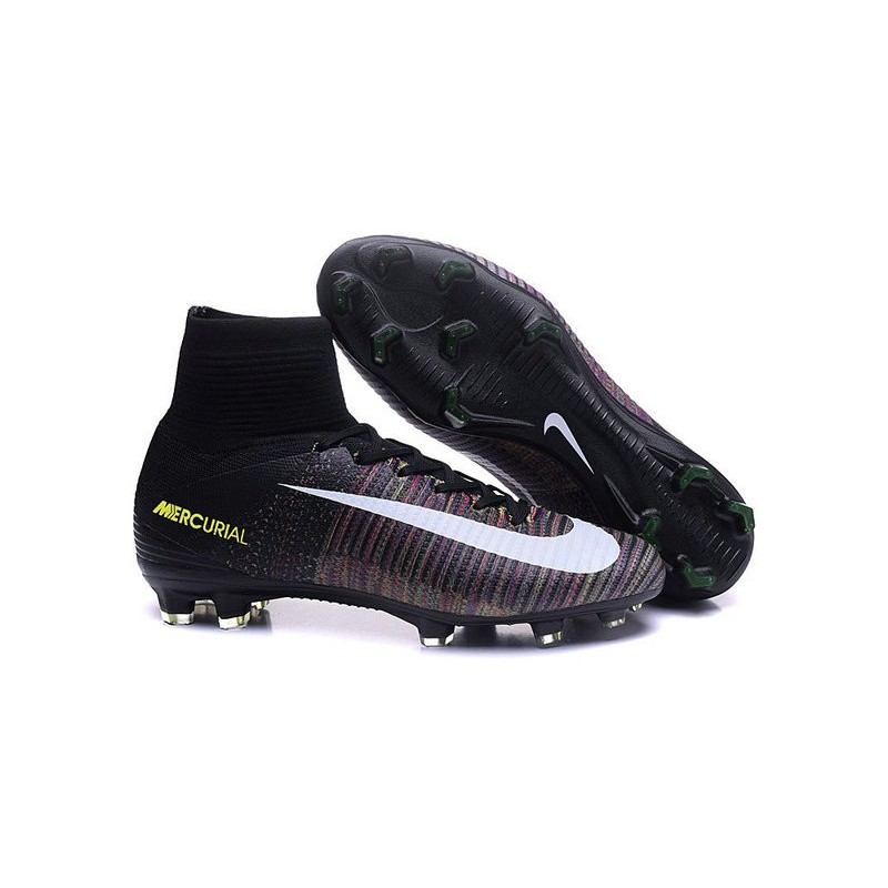 Nike Mercurial Superfly V FG High Top Firm Ground Shoes Black Pink White