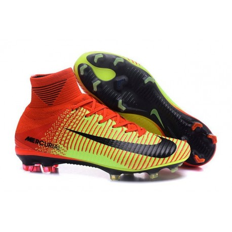 uk availability 2f1bc a30d3 Nike Mercurial Superfly V FG High Top Firm Ground Shoes Red Green Black