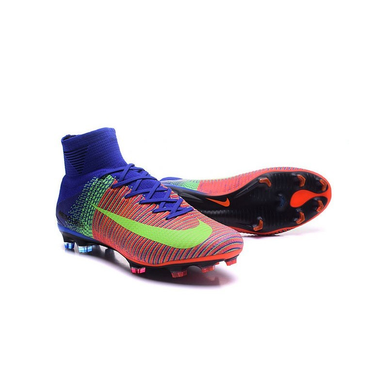 Nike Mercurial Superfly V FG High Top Firm Ground Shoes Blue Orange Green