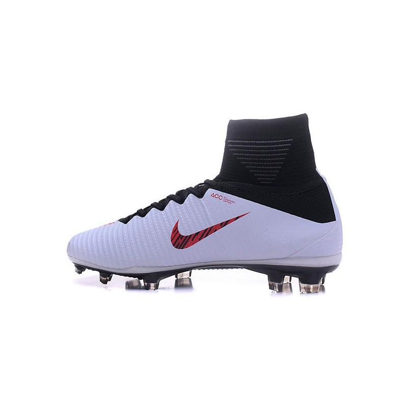 Nike Mercurial Superfly V FG High Top Firm Ground Shoes White Red Black