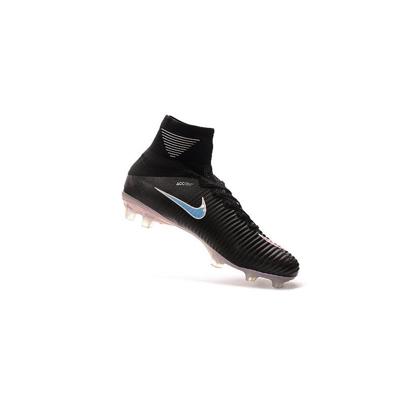 Nike Mercurial Superfly V FG High Top Firm Ground Shoes Black Silver