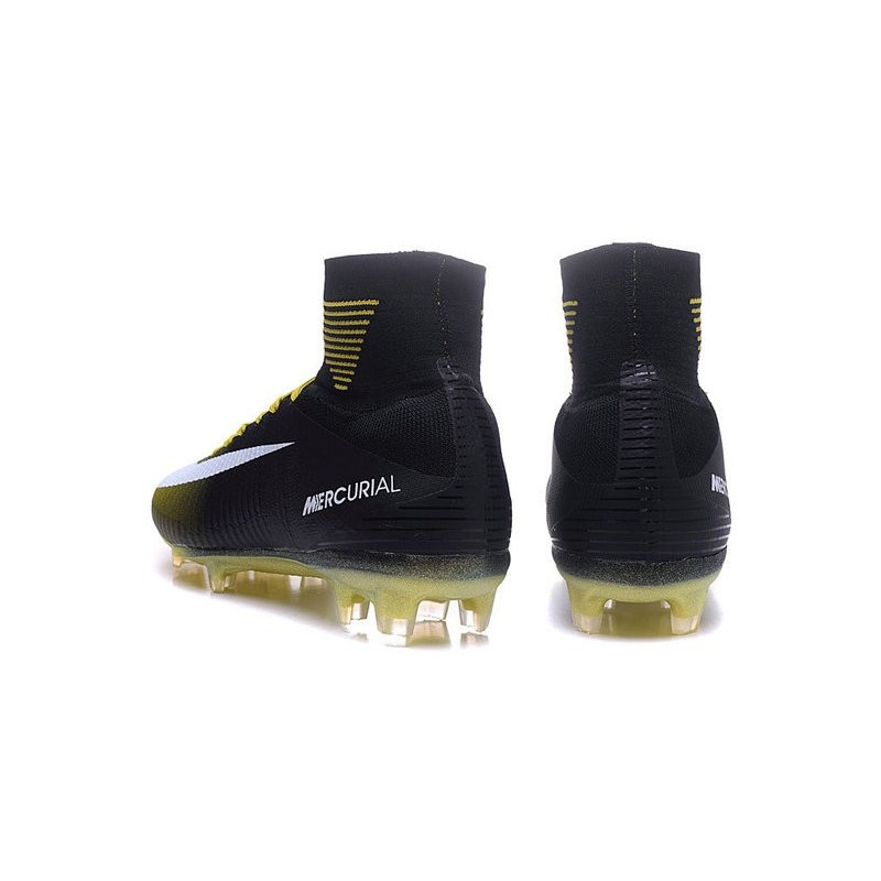 Nike Mercurial Superfly V FG Men Soccer Boots Black Yellow White