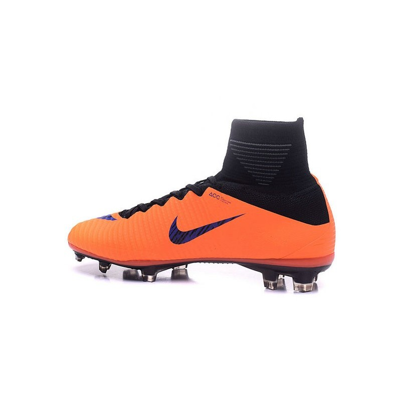 Nike Mercurial Superfly V FG Men Soccer Boots Orange Purple Black