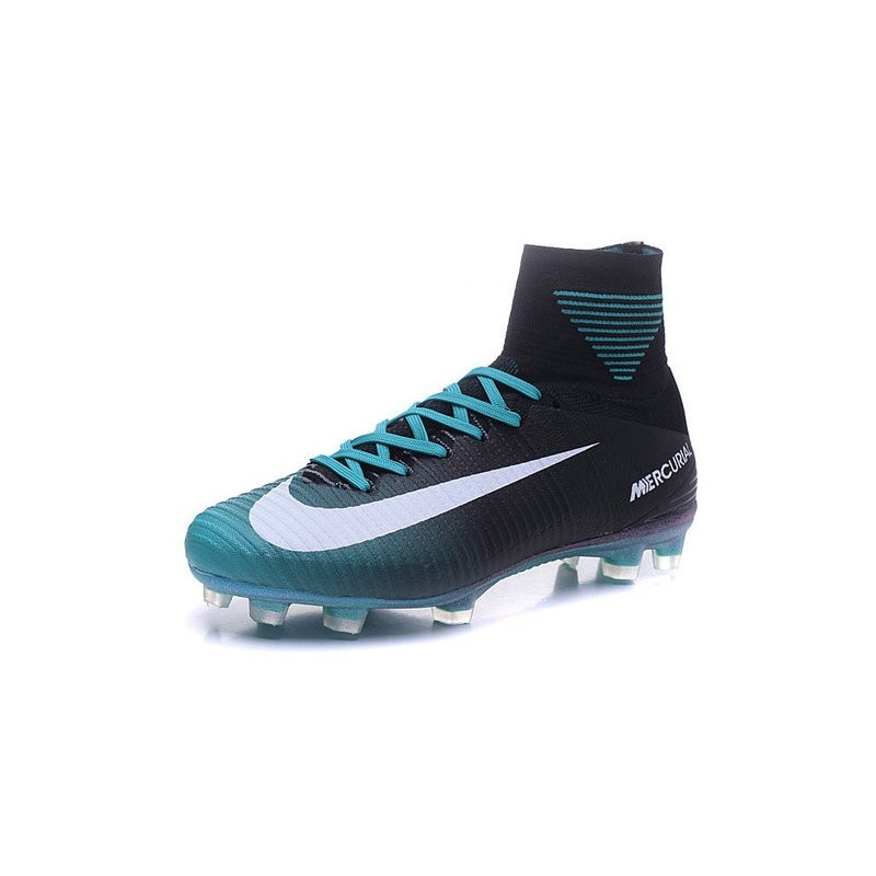 Nike Mercurial Superfly V FG Men Soccer Boots Black Blue White