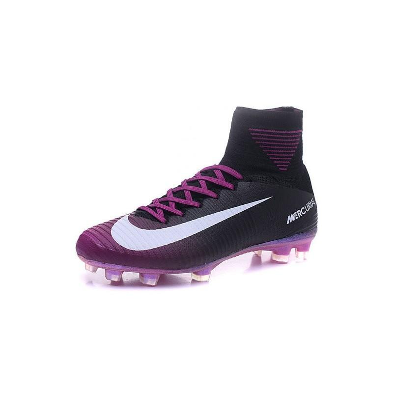 Nike Mercurial Superfly V FG Men Soccer Boots Black Purple White