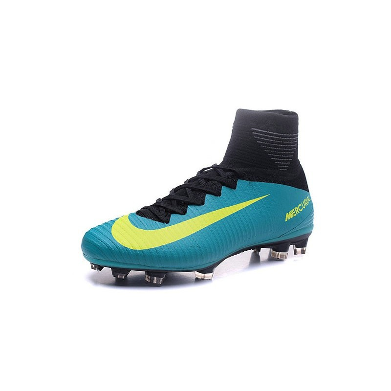 Nike Mercurial Superfly V FG Men Soccer Boots Blue Yellow