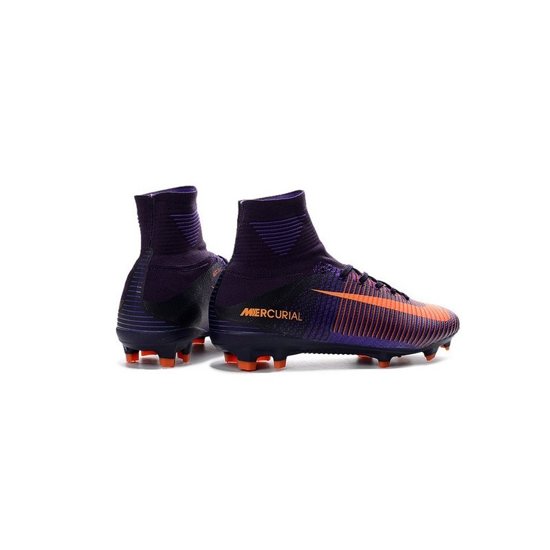Nike Mercurial Superfly V FG Men Soccer Boots Purple Orange