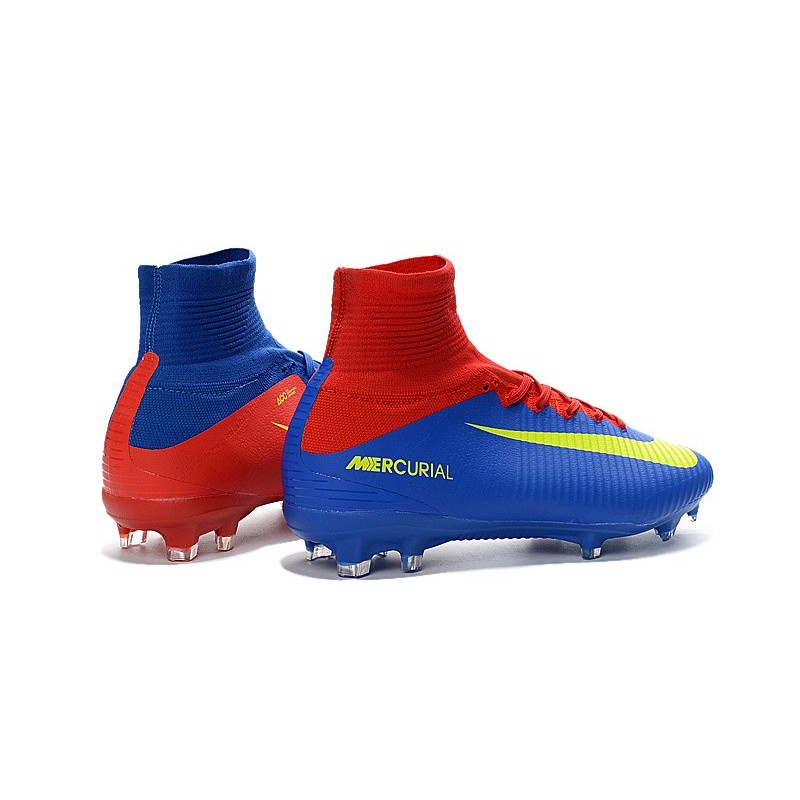 Nike Mercurial Superfly V FG Men Soccer Boots Red Blue Yellow