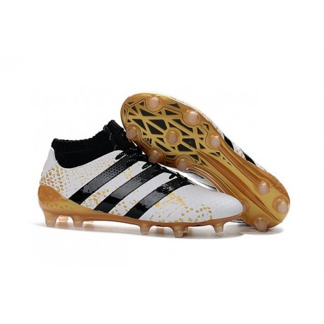 3e56f732d158 Men News adidas ACE 16.1 Primeknit FG AG Football Cleats White Gold Black