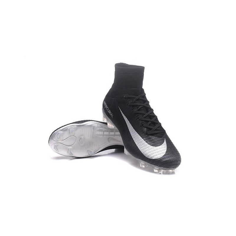 New Nike Mercurial Superfly 5 FG Firm Ground Football Cleats Black Silver